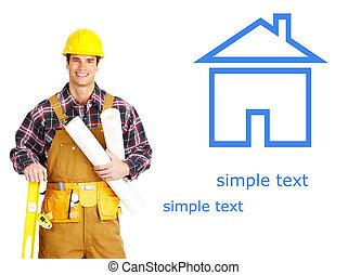 builder - Handsome smiling builder. Isolated over white...