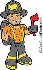 Fireman - Handsome Smiling Fireman Holding an Axe