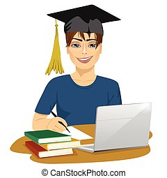 Handsome smiling male student using online education service