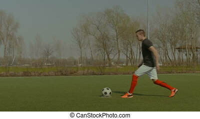 Handsome soccer player taking a penalty kick - Young...
