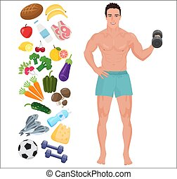 Handsome sport Health man. Lifestyle infographic vector illustration with icons.