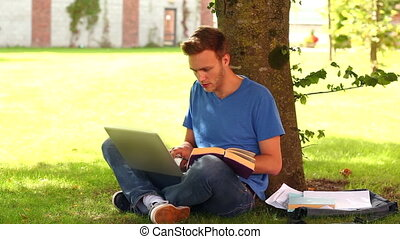 Handsome student studying outside