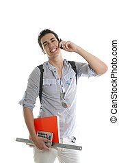 Handsome student talking mobile cell phone