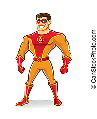 Handsome Superhero - handsome cartoon superhero wearing a...
