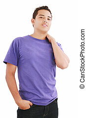 Handsome teenager boy, casual dressed. Studio shot, white background