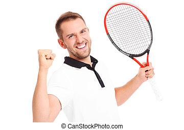 Handsome tennis player