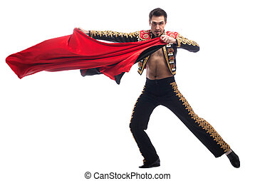 Handsome toreador in black costume with red cloth - Full...