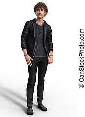 Handsome trendy guy in urban casual outfit isolated on...