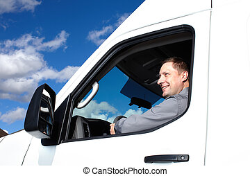 Handsome truck driver. - Smiling truck driver in the car....