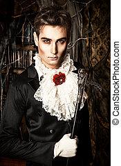 handsome vampire - Handsome vampire man wearing elegant...