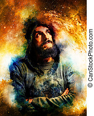 Handsome warrior in cosmic space thinking about his next adventure, abstract watercolour- style background.