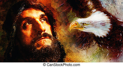 Handsome warrior with eagle thinking about his next adventure, abstract watercolour- style background.