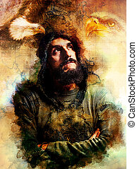 Handsome warrior with two eagles thinking about his next adventure, abstract watercolour- style background.