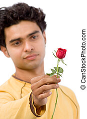 Handsome with red rose