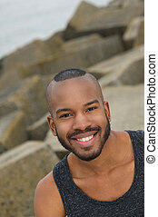 Handsome young african american man outdoors