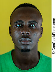 Handsome young black African American man closeup portrait