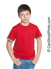 Handsome young boy in red shirt