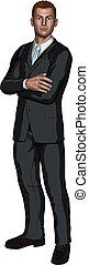 Illustration of confident handsome young businessman standing with arms folded