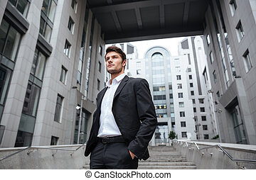 Handsome young businessman in suit standing near business center