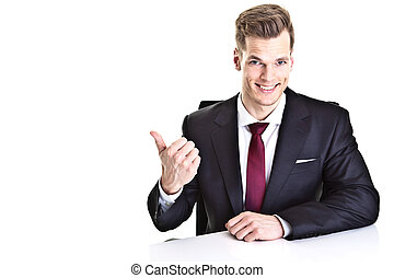 Handsome young businessman pointing at empty space - isolated on