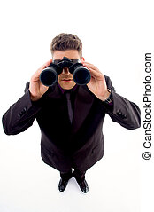 handsome young businessman with a pair of binoculars