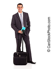 businessman with trolley bag and air ticket