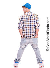 young casual man from back