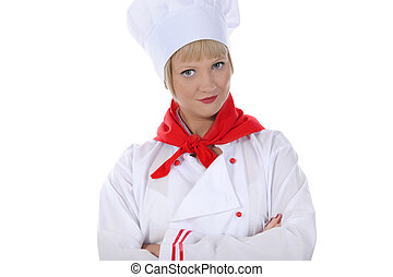 Handsome young chef in uniform.