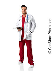 Handsome young doctor in medical gown
