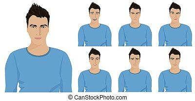 Handsome young guy with different facial emotions and expressions set. Vector illustration.