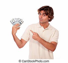 Handsome young man holding cash money