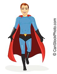handsome young man in blue superhero costume walking forward