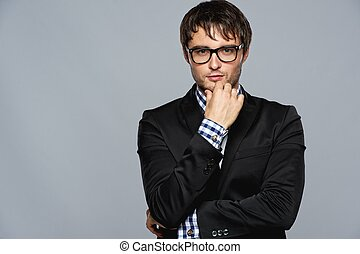 Handsome young man in glasses