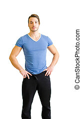 Handsome young man, muscular build, standing on white