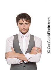 Handsome young man on white background.
