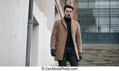 Handsome young man outdoor in winter fashion - Handsome...