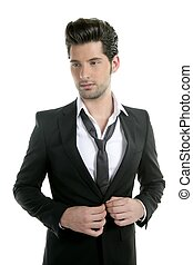 Handsome young man suit casual tie suit