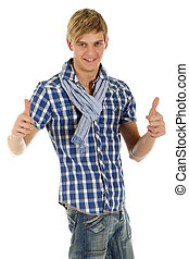 Handsome young man, thumbs up