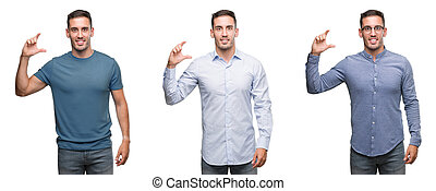 Handsome young man wearing different outfits smiling and confident gesturing with hand doing size sign with fingers while looking and the camera. Measure concept.