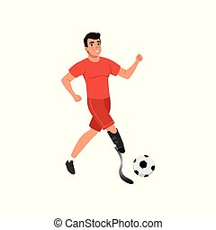 Handsome young man with artificial leg playing football. Guy with physical disabilities. Flat vector design