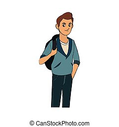 handsome young man with brown hair blue jacket and backpack icon