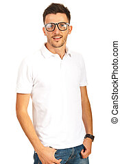Handsome young man with eyeglasses