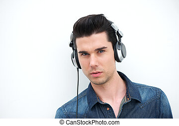 handsome young man with headphones
