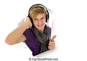 Handsome young man with headset, thumbs up