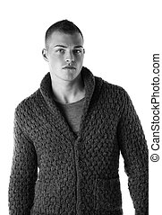 Handsome young man with wool sweater