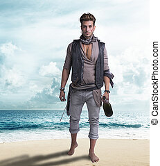 Handsome young pirate on the beach, barefoot, holding wine ...