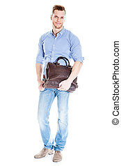 Handsome young student with laptop bag