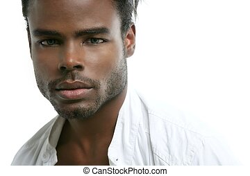 Handsomen black fashion african young man with wite shirt at studio