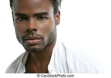 handsomen, svart, mode, afrikansk ung herre