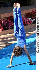 Handstand - Boy at summer gymnastic camp